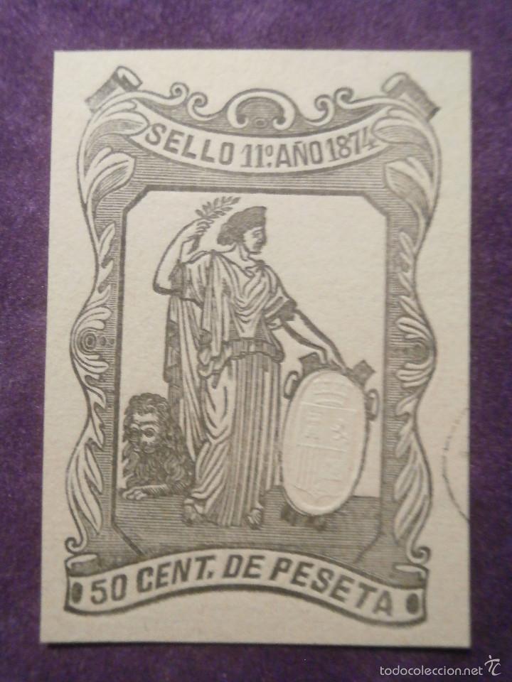 SELLO FISCAL CLASICO - POLIZA - TIMBRE PAPELES OFICIALES - AÑO 1874 CLASE 11 ª - 50 CENT. DE PESETA (Sellos - España - Amadeo I y Primera República (1.870 a 1.874) - Usados)