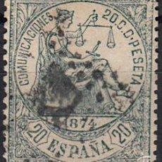 Sellos: EFIGIE ALEGORICA DE LA JUSTICIA - 20 CENTIMOS - AÑO 1874 EDIFIL Nº 146 USADO. Lote 60293723
