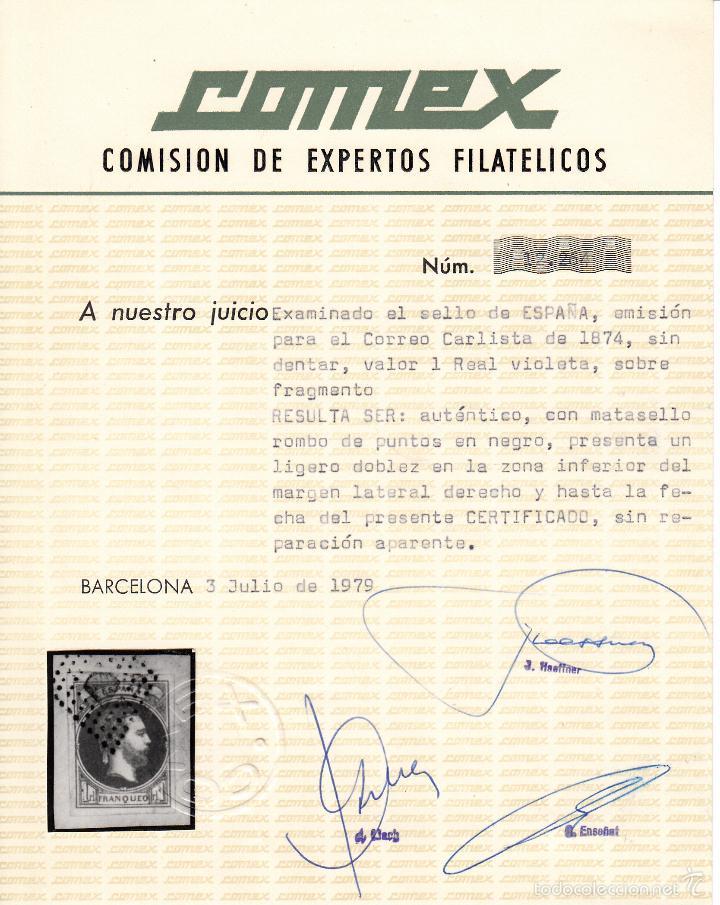 Sellos: EDIFIL 158 USADO. 1874 CARLOS VII. MATº ROMBO DE PUNTOS. CERTIFICADO COMEX. - Foto 2 - 60329075