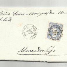 Selos: CIRCULADA Y ESCRITA 1870 GOBIERNO PROVISIONAL ED 107 DE ALMANDRAL A MARQUES DE MONSALUD ALMENDRALEJO. Lote 60926647