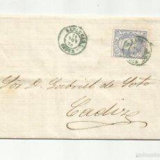 Sellos: CIRCULADA Y ESCRITA 1870 GOBIERNO PROVISIONAL EDIFIL 107 DE SANLUCAR A CADIZ COBRO RON. Lote 60926971