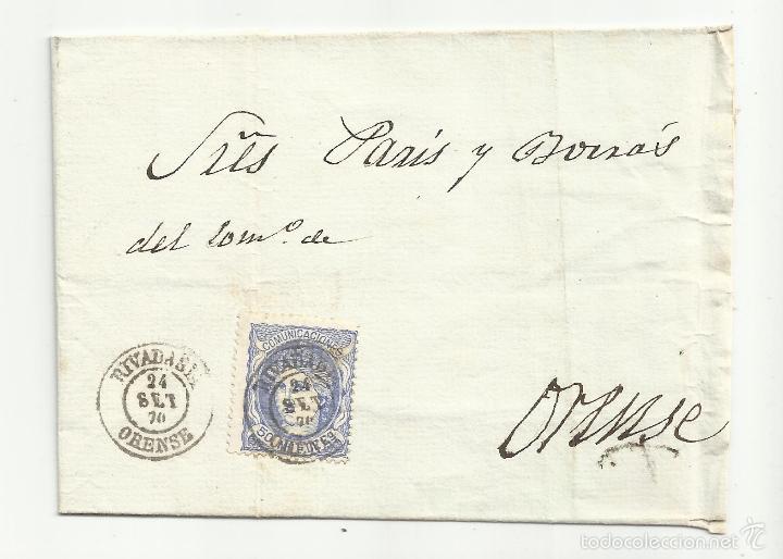 ENVUELTA CIRCULADA 1870 GOBIERNO PROVISIONAL EDIFIL 107 DE RIVADABIA ORENSE (Sellos - España - Amadeo I y Primera República (1.870 a 1.874) - Cartas)