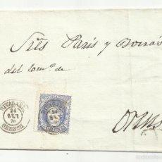Sellos: ENVUELTA CIRCULADA 1870 GOBIERNO PROVISIONAL EDIFIL 107 DE RIVADABIA ORENSE. Lote 60949307