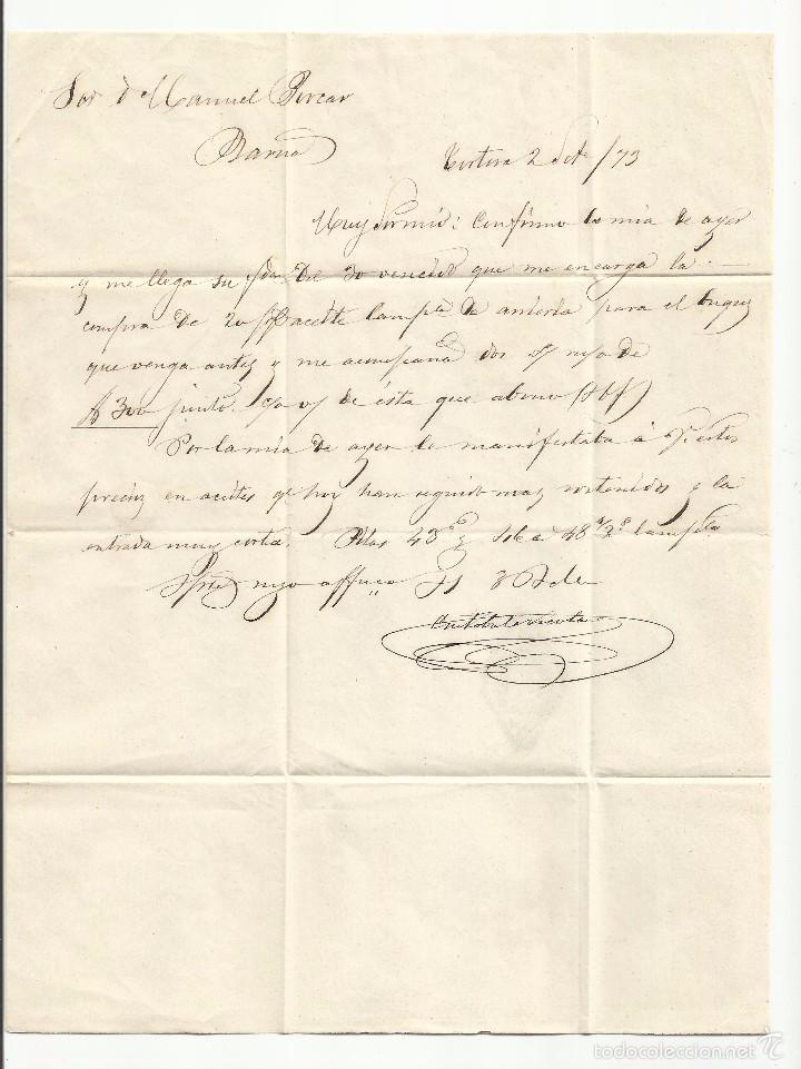 Sellos: circulada y escrita de tortosa tarragona a barcelona 1873 primera republica venta almendra - Foto 2 - 61145771
