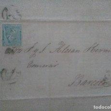 Sellos: CARTA DE LA I REPUBLICA,ALEGORIA,10 CENTMOS DE PESETA, 9-11-1873,ZARAGOZA-BARCELONA. Lote 62297288