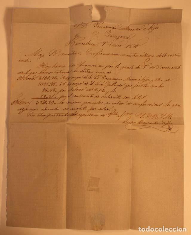 Sellos: ANTIGUO SOBRE CARTA COMERCIAL 1871 DE BARCELONA A ZARAGOZA, SELLO GOBIERNO PROVISIONAL - Foto 3 - 62752380