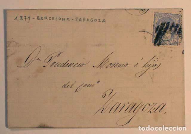 ANTIGUO SOBRE CARTA COMERCIAL 1871 DE BARCELONA A ZARAGOZA, SELLO GOBIERNO PROVISIONAL (Sellos - España - Amadeo I y Primera República (1.870 a 1.874) - Cartas)