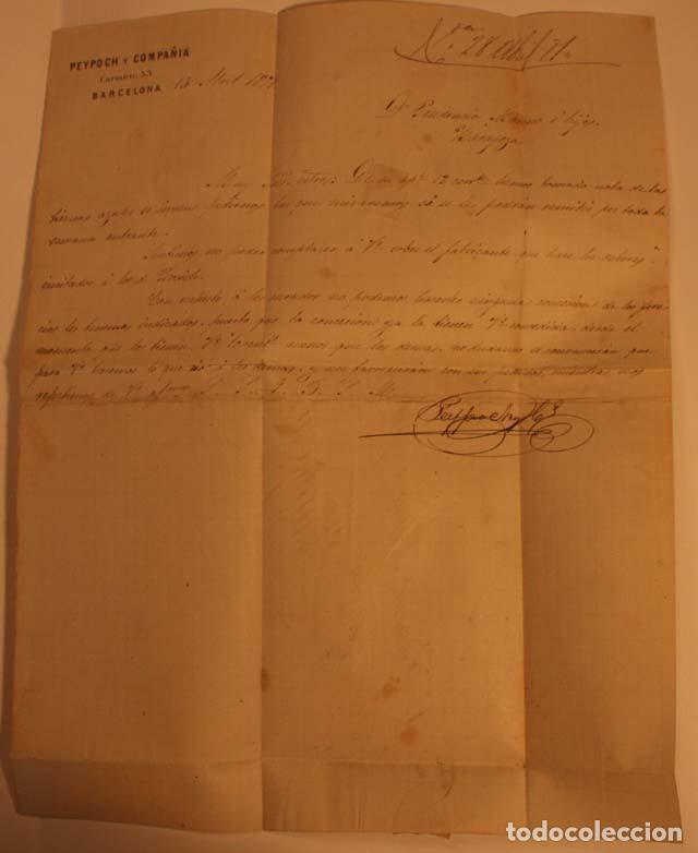 Sellos: ANTIGUO SOBRE CARTA COMERCIAL 1871 DE BARCELONA A ZARAGOZA, SELLO GOBIERNO PROVISIONAL - Foto 3 - 62752524