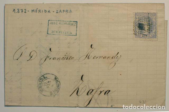 ANTIGUO SOBRE CARTA COMERCIAL 1872 DE MERIDA A ZAFRA, SELLO GOBIERNO PROVISIONAL (Sellos - España - Amadeo I y Primera República (1.870 a 1.874) - Cartas)