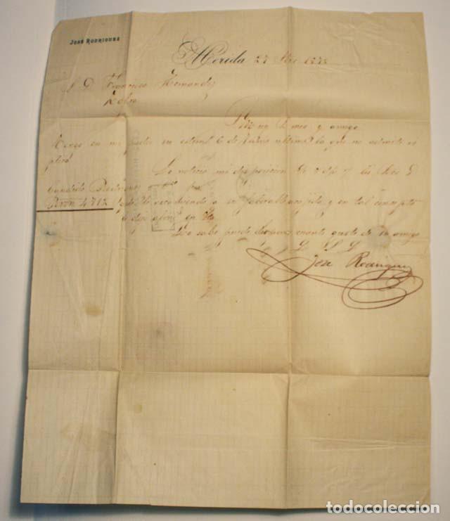 Sellos: ANTIGUO SOBRE CARTA COMERCIAL 1872 DE MERIDA A ZAFRA, SELLO GOBIERNO PROVISIONAL - Foto 3 - 62762148