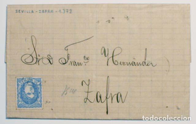 ANTIGUO SOBRE CARTA COMERCIAL 1872 SEVILLA A ZAFRA, SELLO GOBIERNO PROVISIONAL (Sellos - España - Amadeo I y Primera República (1.870 a 1.874) - Cartas)