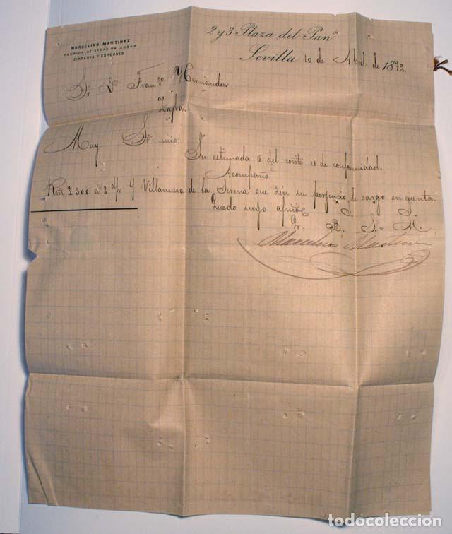 Sellos: ANTIGUO SOBRE CARTA COMERCIAL 1872 SEVILLA A ZAFRA, SELLO GOBIERNO PROVISIONAL - Foto 3 - 62762540
