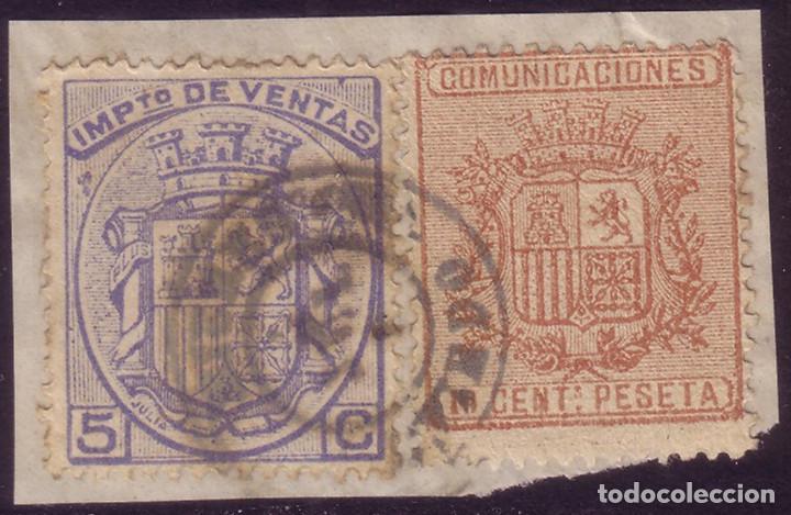ESPAÑA. (CAT. 153 + FISCAL). S. FRAG. FRANQUEO MIXTO 10 CTS. + SELLO FISCAL. MAT. MIERES (OVIEDO).RR (Sellos - España - Amadeo I y Primera República (1.870 a 1.874) - Usados)