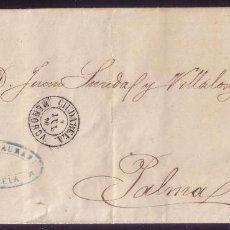 Sellos: ESPAÑA. (CAT. 107).1870. CARTA DE CIUDADELA A PALMA. 50 M. CORREO MARÍTIMO INSULAR BALEAR. RR. Lote 64447075