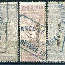 Sellos: FISCALES GIRO 1874, IMPUESTO GUERRA, 3 VALORES, 2, 2,5 Y 20 ESCUDOS, MATASELLO BANCO ESPAÑA. Lote 65764766