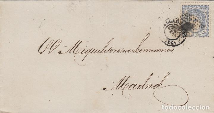 ENVUELTA CARTA AÑO 1871 FRANQ 107 DE VALLADOLID A MADRID . MAT ROMBO DE PUNTOS Y FECHADOR (Sellos - España - Amadeo I y Primera República (1.870 a 1.874) - Cartas)
