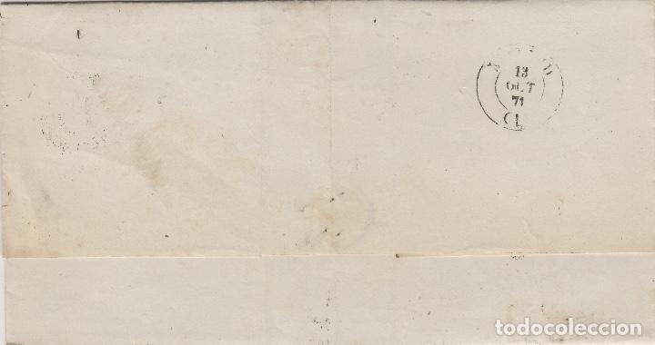 Sellos: ENVUELTA CARTA año 1871 franq 107 de VALLADOLID A MADRID . MAT ROMBO DE PUNTOS Y FECHADOR - Foto 2 - 66035642