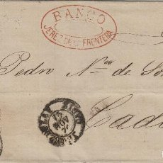 Sellos: ENVUELTA CARTA AÑO 1870 FRANQ 107 DE BANCO JEREZ DE LA FRONTERA / CÁDIZ MAT FECHADOR NEGRO . Lote 66036546