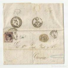 Sellos: CIRCULADA Y ESCRITA 1872 DE MALAGA A GENOVA CON FECHADOR LLEGADA Y EDIFIL 109. Lote 66062830