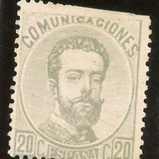 Sellos: EDIFIL 123 (*) 20 CÉNTIMOS GRIS AMADEO I 1872 NL1047. Lote 68411765