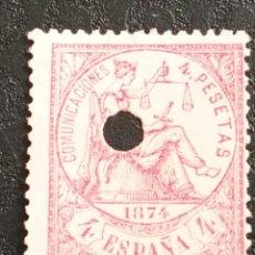 Sellos: USADO - EDIFIL 151 TALADRADO - SPAIN 1874 ALEGORIA DE LA JUSTICIA. Lote 71108317