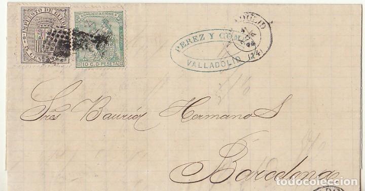 SELLOS 133 Y 141 : VALLADOLID A BARCELONA .1874. (Sellos - España - Amadeo I y Primera República (1.870 a 1.874) - Cartas)