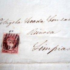 Sellos: AÑO 1870. CARTA MADRID A LIMPIAS (SANTANDER). CARTA PUBLICITARIA CON FRANQUEO 1 MILÉSIMA DE ESCUDO. Lote 68019633