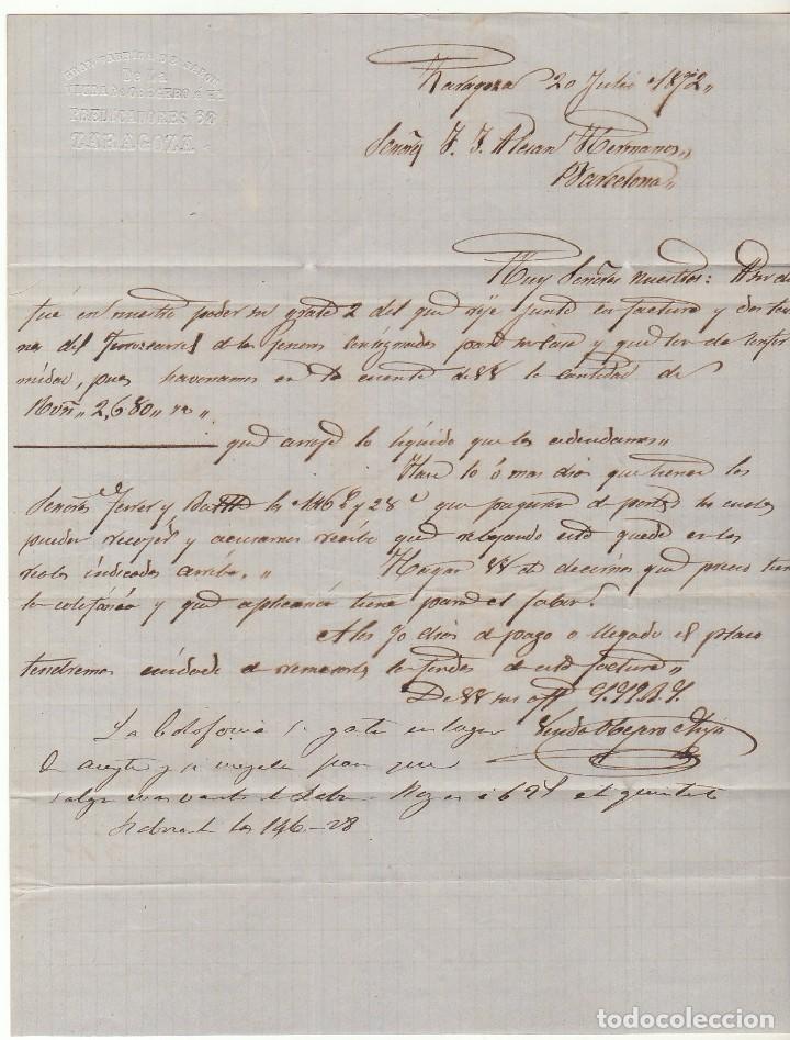 Sellos: Sello 107 : ZARAGOZA a BARCELONA. 1872. - Foto 4 - 73626471