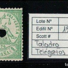 Sellos - I REPUBLICA ALEGORÍA JUSTICIA (1 PESETA 1874). EDIFIL 150 T. USADO TELÉGRAFOS - 75105255