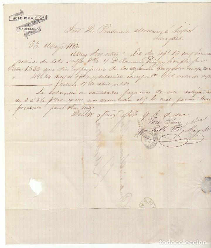 Sellos: Sello 121. BARCELONA a ZARAGOZA. 1873. - Foto 3 - 75195551