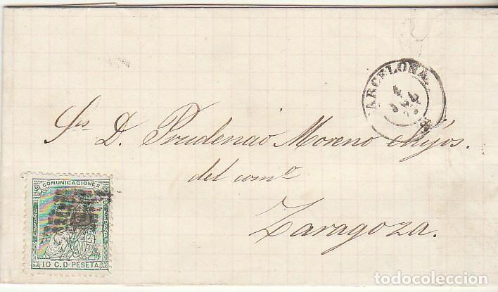 SELLO 133 : BARCELONA A ZARAGOZA. 1873. (Sellos - España - Amadeo I y Primera República (1.870 a 1.874) - Cartas)