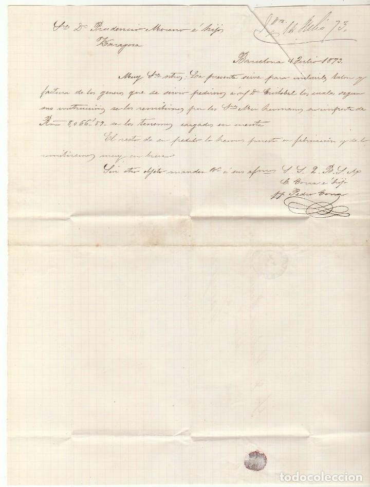 Sellos: SELLO 133 : BARCELONA a ZARAGOZA. 1873. - Foto 3 - 75479635