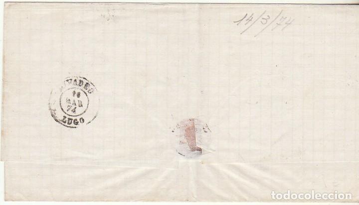 Sellos: FRONTAL : Sellos 133 y 141. (OVIEDO) a RIVADEO. 1874. - Foto 2 - 75480967