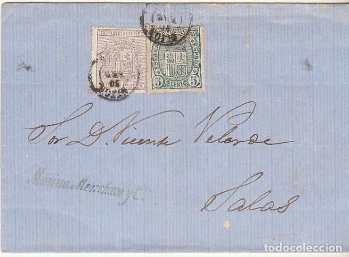 SELLOS 153 Y 154 : GIJON A SALAS. 1875. (Sellos - España - Amadeo I y Primera República (1.870 a 1.874) - Cartas)