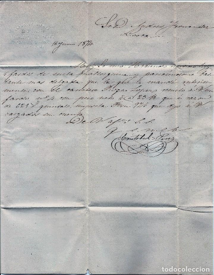 Sellos: ENVUELTA CIRCULADA DE CARTAGENA A LORCA (MURCIA) - IMPUESTO GUERRA Y COMUNICACIONES AÑO 1874 - Foto 2 - 76517395