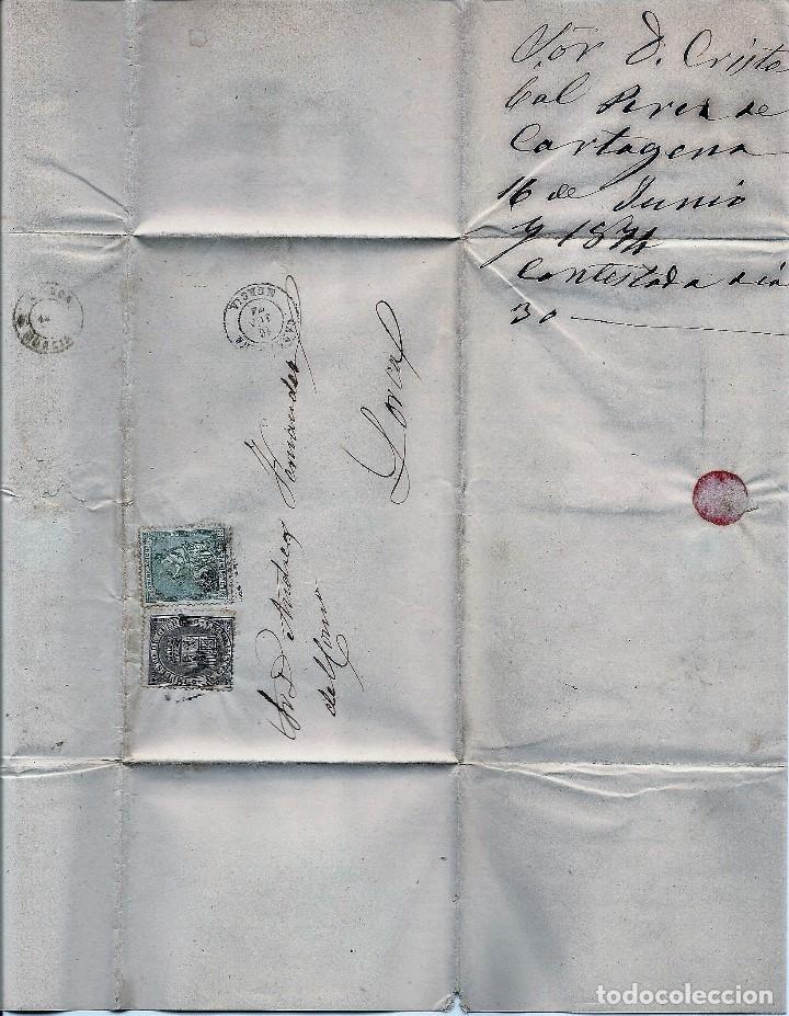 Sellos: ENVUELTA CIRCULADA DE CARTAGENA A LORCA (MURCIA) - IMPUESTO GUERRA Y COMUNICACIONES AÑO 1874 - Foto 3 - 76517395