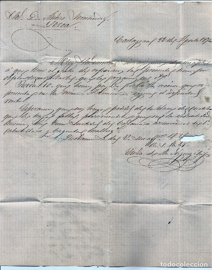 Sellos: ENVUELTA CIRCULADA DE CARTAGENA A LORCA (MURCIA) - IMPUESTO GUERRA Y COMUNICACIONES AÑO 1877 - Foto 2 - 76887999