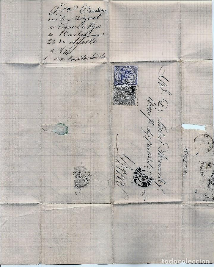 Sellos: ENVUELTA CIRCULADA DE CARTAGENA A LORCA (MURCIA) - IMPUESTO GUERRA Y COMUNICACIONES AÑO 1877 - Foto 3 - 76887999