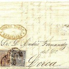 Sellos: ENVUELTA CIRCULADA DE BARCELONA A LORCA (MURCIA) - IMPUESTO GUERRA Y COMUNICACIONES AÑO 1877. Lote 76889003
