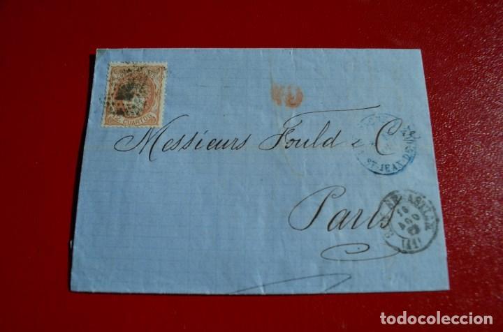CARTA COMPLETA SAN SEBASTIAN A PARIS MATASELLO TIPO ROMBO (Sellos - España - Amadeo I y Primera República (1.870 a 1.874) - Cartas)