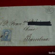 Sellos: CARTA ALAGON ZARAGOZA A BARCELONA MATASELLO TIPO ROMBO HISTORIA POSTAL. Lote 77612129