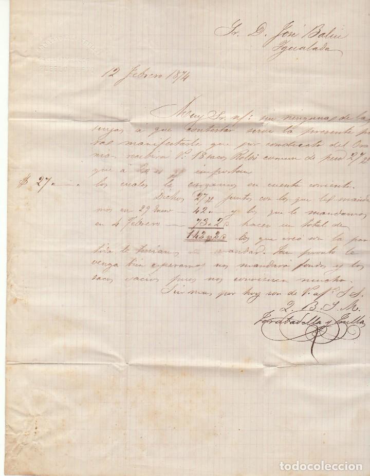 Sellos: Sellos 133 y 141 :BARCELONA a YGUALADA. 1874. - Foto 2 - 79104913