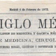 Sellos: TIMBRE DE PERIODICOS AMADEO DE SABOYA. EL SIGLO MEDICO. BOLETIN DE MEDICINA. CAT +70 €. Lote 79570641
