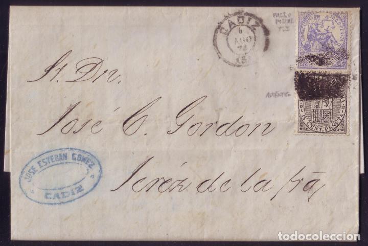 ESPAÑA.(CAT.145/GRAUS 197-I+141).1874.CARTA D CADIZ.10C.FALSO POSTAL TIPO I + I. DE GUERRA. RARA. (Sellos - España - Amadeo I y Primera República (1.870 a 1.874) - Cartas)