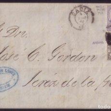 Sellos: ESPAÑA.(CAT.145/GRAUS 197-I+141).1874.CARTA D CADIZ.10C.FALSO POSTAL TIPO I + I. DE GUERRA. RARA. . Lote 84033732