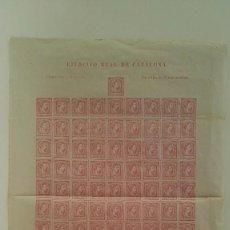 Sellos: CORREO CARLISTA 1874. EJÉRCITO REAL DE CATALUÑA. PLIEGO DE 100 SELLOS DE 16 MARAVEDISES.. Lote 89034788