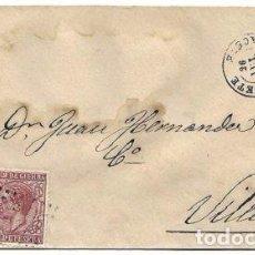 Sellos: CAUDETE A VILLENA 1878 - ALBACETE - FECHADOR NEGRO - SELLO ALFONSO XII + IMPUESTO DE GUERRA - RARA. Lote 95611651