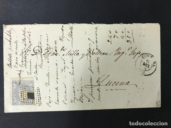 ANTIGUO SOBRE CARTA DE CÓRDOBA A LUCENA, 1870 SELLO GOBIERNO PROVISIONAL (Sellos - España - Amadeo I y Primera República (1.870 a 1.874) - Cartas)