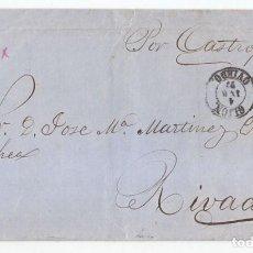 Sellos: ENVUELTA DE GIJÓN. ASTURIAS A RIBADEO. POR CASTROPOL. 1872. MATRONA. Lote 97556679