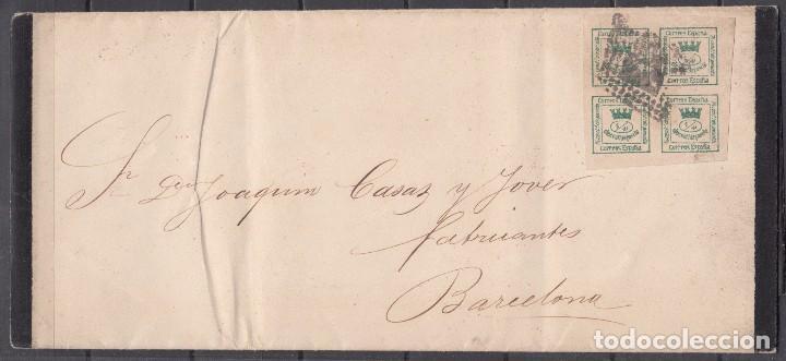 CORREO INTERIOR BARCELONA , TARIFA DE IMPRESOS , EDIFIL Nº 130 , 4/4 CUARTOS , (Sellos - España - Amadeo I y Primera República (1.870 a 1.874) - Cartas)